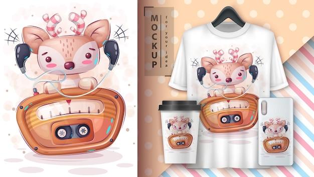 Cute deer listen music poster and merchandising