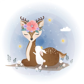 Cute deer and little bunny with flowers, floral wreath
