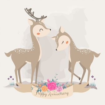 Cute deer in love. invitation card.