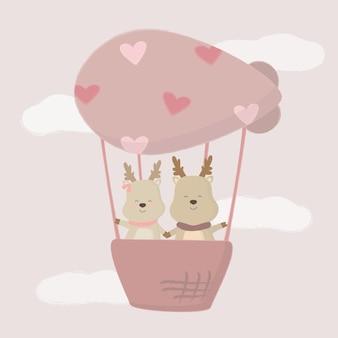 Amante dei cervi carino in mongolfiera, cartone animato isolato coppie di simpatici animali romantici innamorati, concetto di san valentino, illustrazione