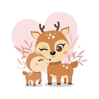 Симпатичная мать-олень с детской иллюстрацией