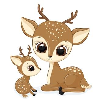 Милая мать оленя с ребенком