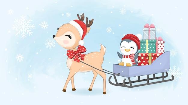 そりとクリスマスのイラストでかわいい鹿、ペンギン、ギフトボックス。