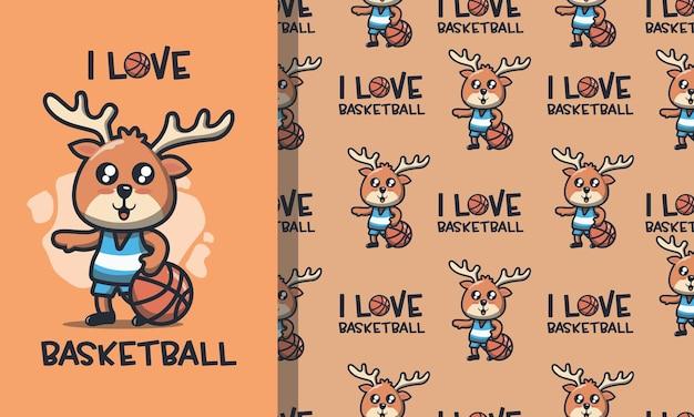 バスケットボールのシームレスなパターンを再生するかわいい鹿