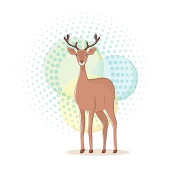 Cute deer poster, flat style design
