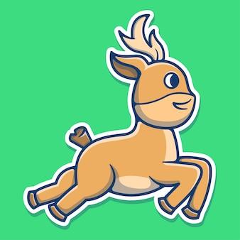 かわいい鹿のランニングとジャンプ。鹿のマスコット漫画。クリスマス要素フラット漫画スタイル