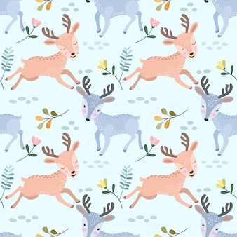 Cute deer running seamless pattern for fabric textile.