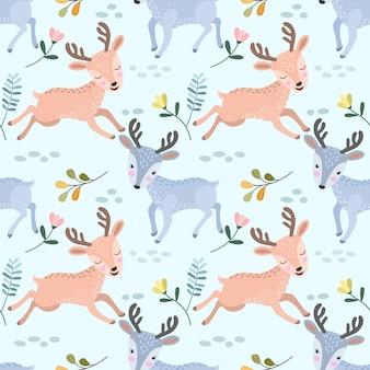 生地の繊維のためのシームレスなパターンを実行しているかわいい鹿。