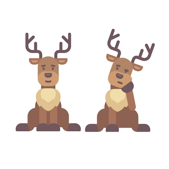 Cute deer sitting down. christmas character flat illustration. reindeer tired after work