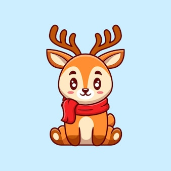 Cute deer sitting and wearing scarf cartoon   illustration. animal nature  concept isolated  . flat cartoon style