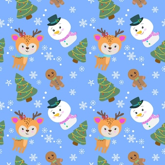 Cute deer and snow man with christmas tree in winter seamless pattern.