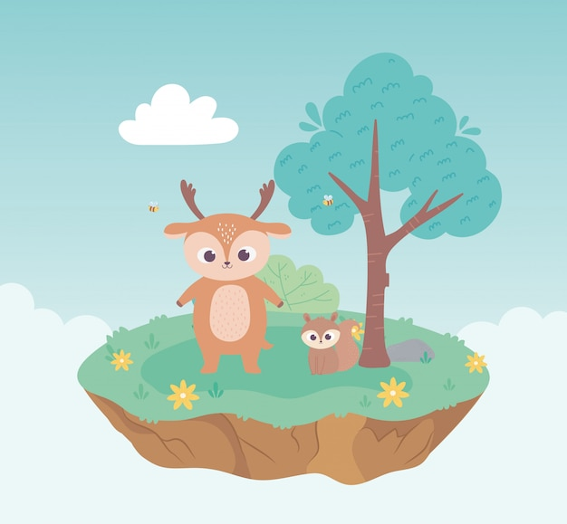 Cute deer and squirrel animals cartoon standing meadow tree and flowers nature
