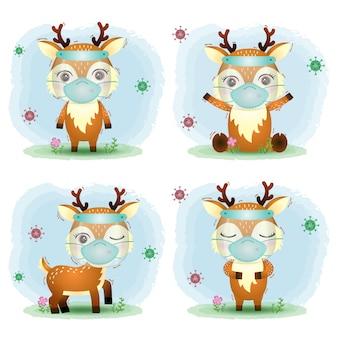 フェイスシールドとマスクコレクションを使用したかわいい鹿