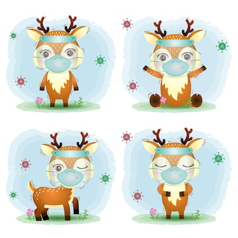 Cute deer using face shield and mask collection