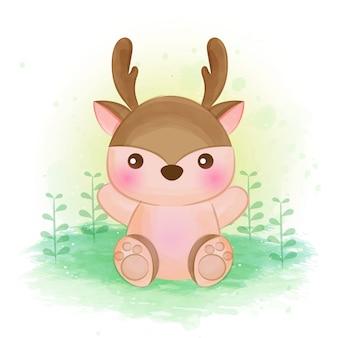 かわいい鹿の水のカラーイラスト。