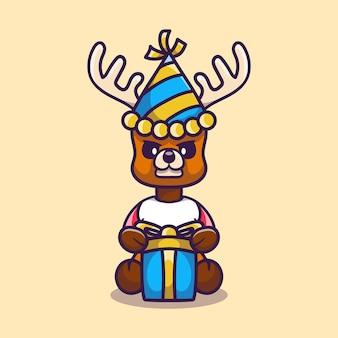 Милый олень в шляпе и подарке на день рождения