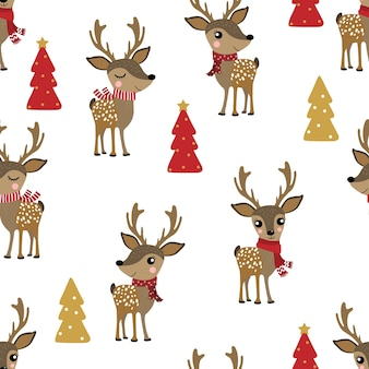 Cute deer in winter costume seamless pattern