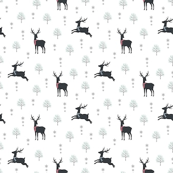 Cute deer on winter snow seamless pattern