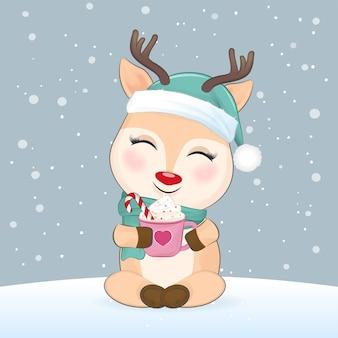 핫 초콜릿 크리스마스와 새해 삽화 한 잔을 들고 있는 귀여운 사슴