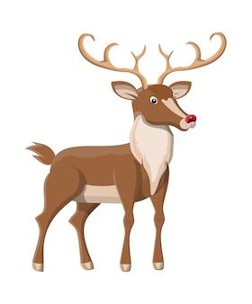 Милый олень с рогами в плоском дизайне
