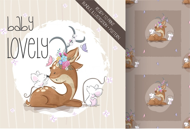 Cute deer with baby mouse seamless pattern