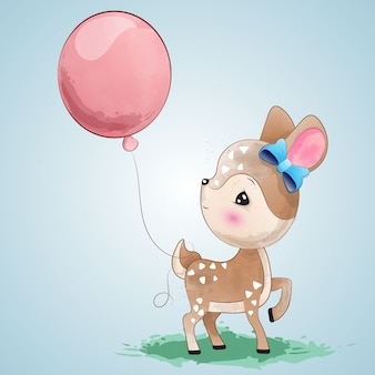 Cute deer with a balloon