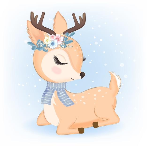 Cute deer with bouquet in christmas illustration