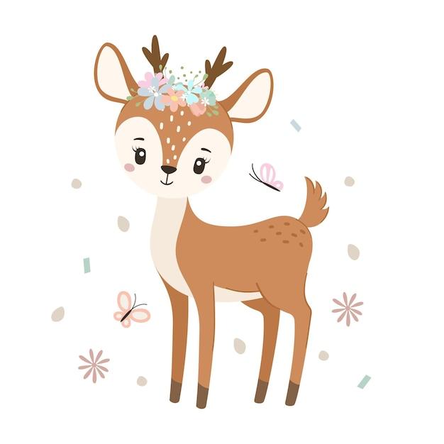 白で隔離の蝶とかわいい鹿