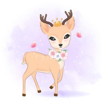 頭に王冠を持つかわいい鹿手描き漫画動物イラスト