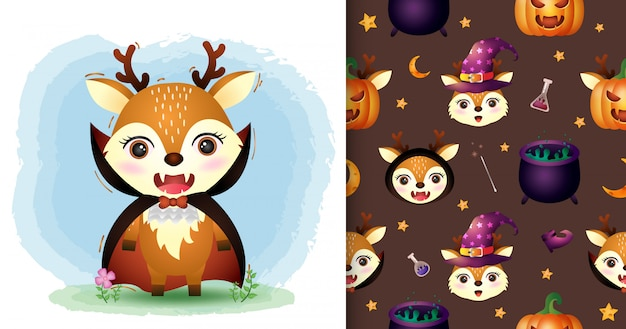A cute deer with dracula costume halloween character collection. seamless pattern and illustration designs