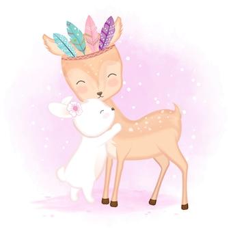 Симпатичный олень с перьями и иллюстрация зайчика