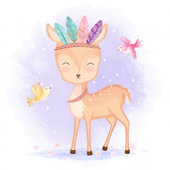Cute deer with feathers and birds illustration