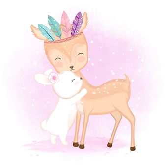Cute deer with feathers and bunny illustration