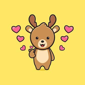 Милый олень с пальцем любви позы иллюстрации шаржа. дизайн изолированные плоский мультяшном стиле
