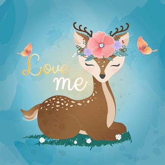 Cute deer with flower crown.