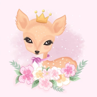 Cute deer with flower hand draw illustration