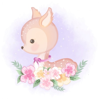 Cute deer with flower hand drawn illustration on purple