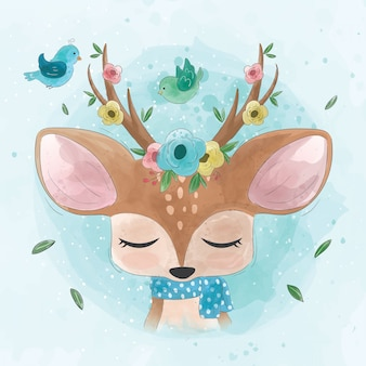 Cute deer with flowers and birds