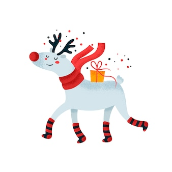 Cute deer with gift box. happy birthday card