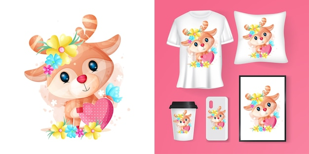 Cute deer with heart cartoon and merchandising