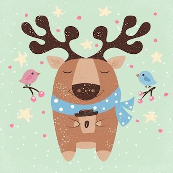 Cute deer with hot coffee cartoon illustration