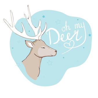 Cute deer with little bird vector illustration for kids