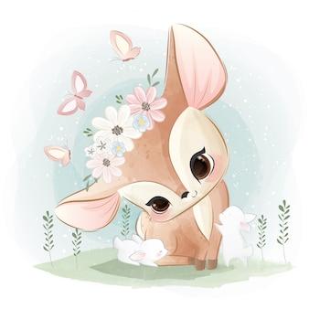 Cute deer with little bunnies