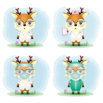 Cute deer with medical staff team doctor and nurse costume collection