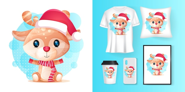 Cute deer with santa custom and merchandising