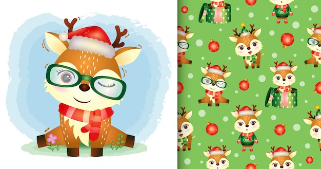 A cute deer with santa hat and scarf seamless pattern and illustration