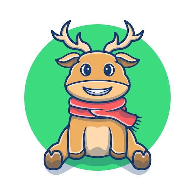 冬のスリングのマスコット漫画とかわいい鹿