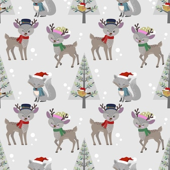 Cute deer and wolf with christmas hat seamless pattern.