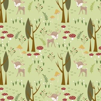 Cute deer in the woodland pattern
