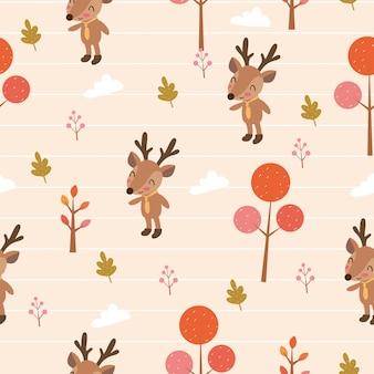Cute deer in woodlands seameless pattern